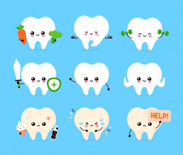 Zestaw ładny ludzki ząb. zdrowy i niezdrowy ludzki narząd