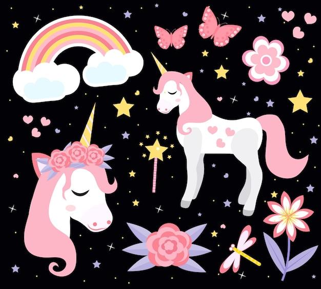 Zestaw ładny mały jednorożec, nowoczesny styl kreskówki. bajkowa kolekcja dla dzieci z tęczą, kwiatami, gwiazdami, magią. ilustracja.