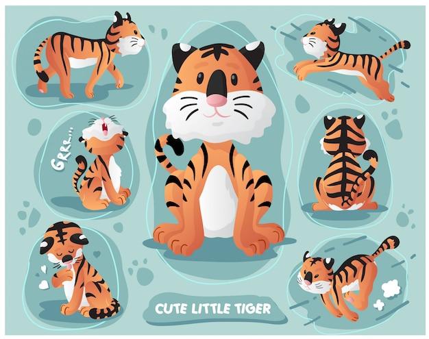 Zestaw ładny mały tygrys