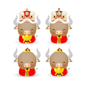 Zestaw ładny mały wół, szczęśliwego chińskiego nowego roku 2021 rok zodiaku wołu