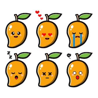 Zestaw ładny mango z postacią z kreskówki wyrażenie