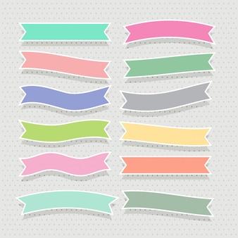 Zestaw ładny miękki kolorowy wstążki