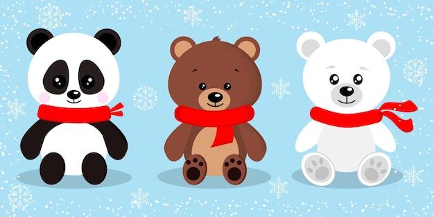 Zestaw ładny na białym tle niedźwiedź świąteczny w czerwone szaliki w pozie siedzącej.