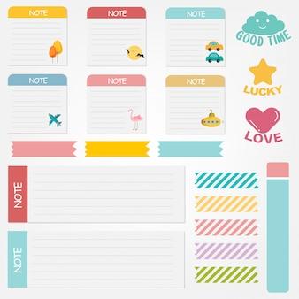 Zestaw ładny papier notatek. projekt transparentu papieru dla wiadomości.
