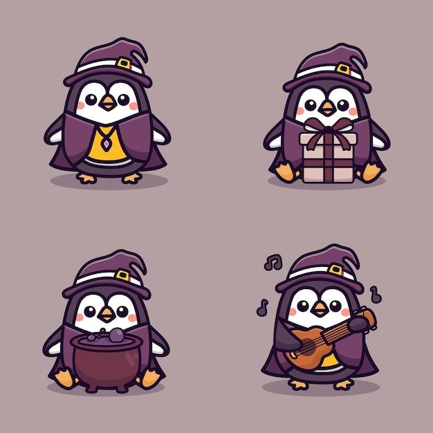 Zestaw ładny pingwin z okazji halloween. ilustracja kreskówka wektor