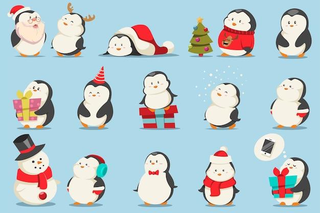 Zestaw ładny pingwiny świąteczne. postać z kreskówki zabawnych zwierząt w kostiumach i prezentach.