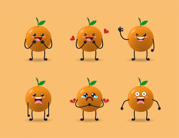 Zestaw ładny pomarańczowy wyrażenie projekt