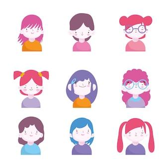 Zestaw ładny portret chłopców i dziewcząt znaków