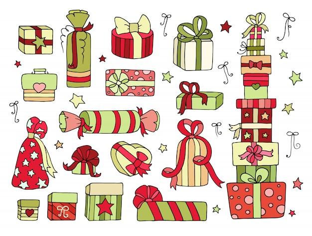 Zestaw ładny prezenty pudełka na zimowe święto