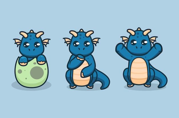 Zestaw ładny projekt logo maskotki smoka dla dzieci