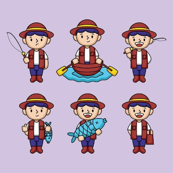 Zestaw ładny projekt maskotki chłopca rybaka