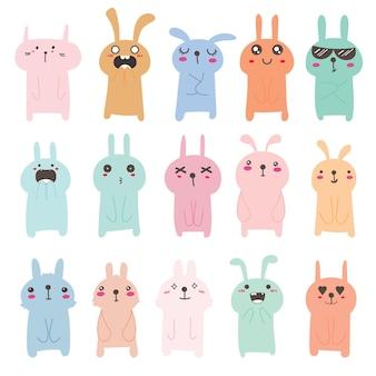 Zestaw ładny projekt postaci króliczka.