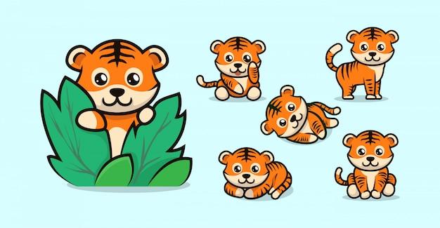Zestaw ładny projekt tygrysa dla dzieci z różnymi pozami