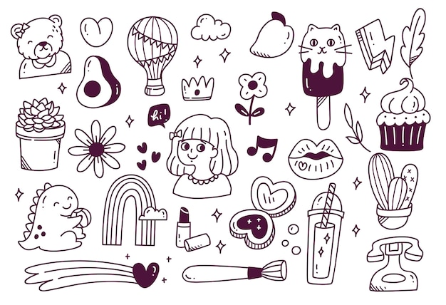 Zestaw ładny ręcznie rysowane doodle