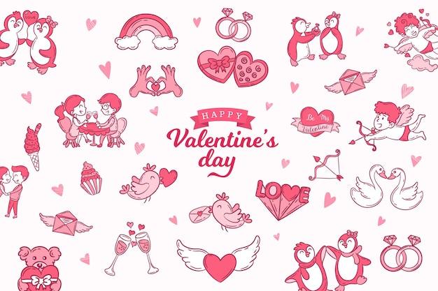 Zestaw ładny ręcznie rysowane ikony o miłości na białym tle
