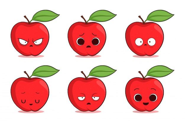 Zestaw ładny ręcznie rysowane jabłko