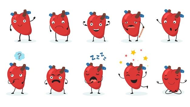 Zestaw ładny serce. organ ludzki z twarzą i różnymi emocjami, postać z kreskówki szczęśliwa, smutna, wściekła, chora i zdrowa. v