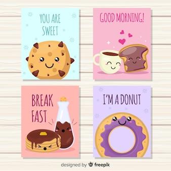 Zestaw ładny słodki żywności karty