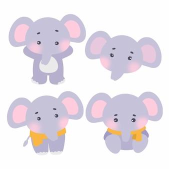 Zestaw ładny słoni.