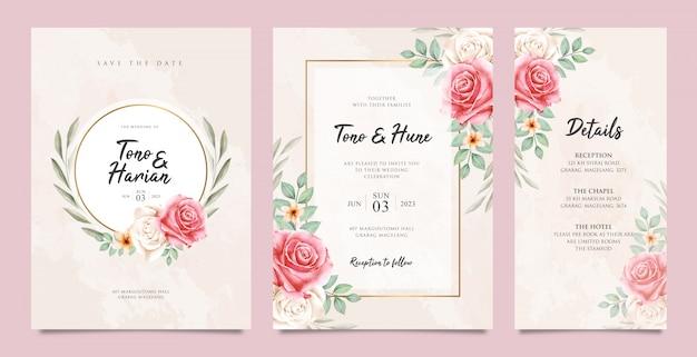 Zestaw ładny ślub karty szablon z pięknym kwiatowy