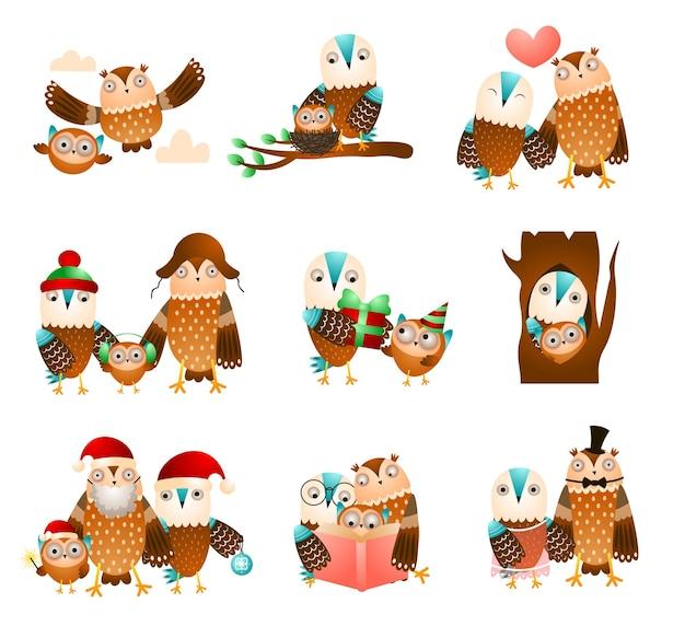 Zestaw ładny sowy rodziny w różnych codziennych zabawnych sytuacjach