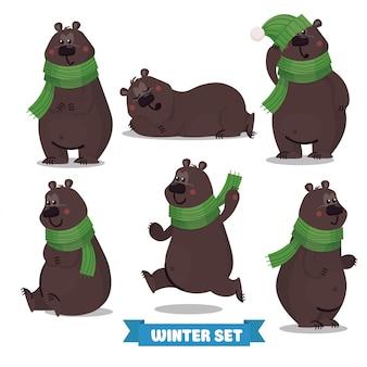 Zestaw ładny świątecznego niedźwiedzia brunatnego