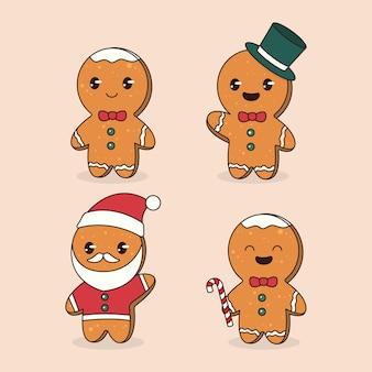 Zestaw ładny świąteczny projekt maskotki z piernika