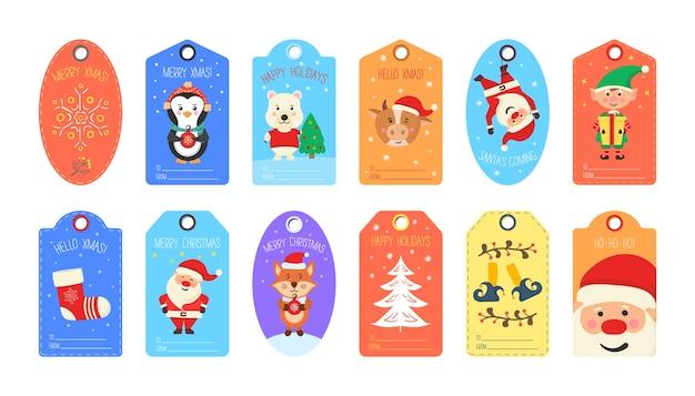Zestaw ładny świąteczny tag. kolekcja tagów upominkowych i kart wesołych świąt i szczęśliwego nowego roku. kreatywne, ręcznie robione tekstury na ferie zimowe.