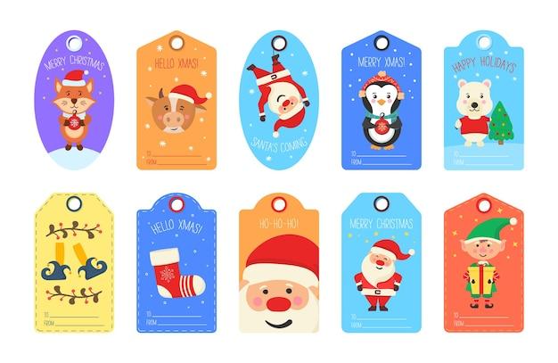 Zestaw ładny świąteczny tag