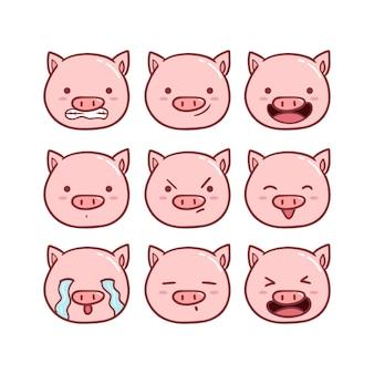 Zestaw ładny świnia emotikon