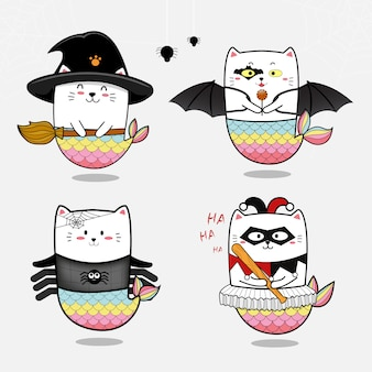 Zestaw ładny syrenka kot na halloween