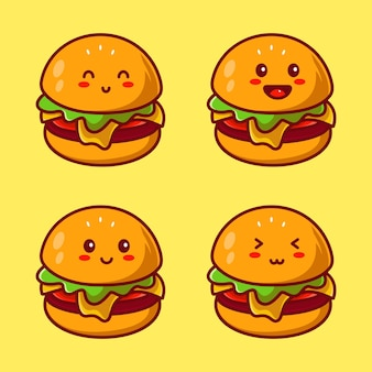 Zestaw ładny szablon projektu logo burger