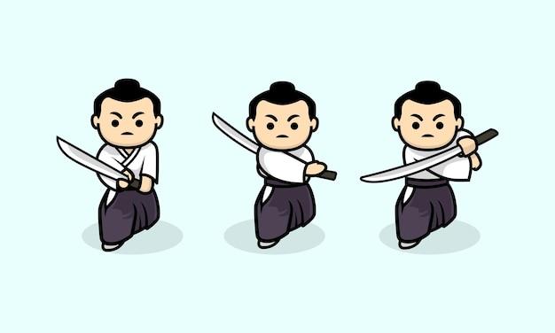 Zestaw ładny szablon projektu postaci samuraja