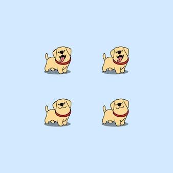 Zestaw ładny szczeniak labrador retriever kreskówka