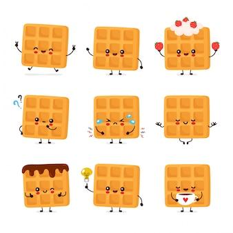 Zestaw ładny szczęśliwy śmieszne gofry belgijskie
