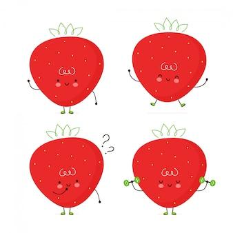 Zestaw ładny szczęśliwy truskawka. pojedynczo na białym. wektorowego postać z kreskówki ilustracyjny projekt, prosty mieszkanie styl. pakiet postaci truskawki, koncepcja kolekcji