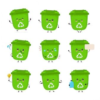 Zestaw ładny szczęśliwy uśmiechający się kosz na śmieci. pojedynczo na białym tle. recykling śmieci, koncepcja sortowanego pakietu śmieci