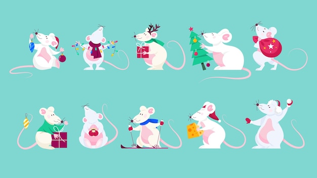 Zestaw ładny szczur świąteczny. postać zwierzęcia trzymająca świąteczne rzeczy. 2020 rok szczura. ilustracja w stylu