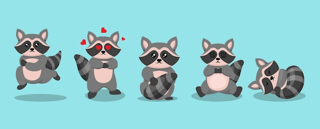 Zestaw ładny szop pracz kawaii maskotka ilustracja projektu logo