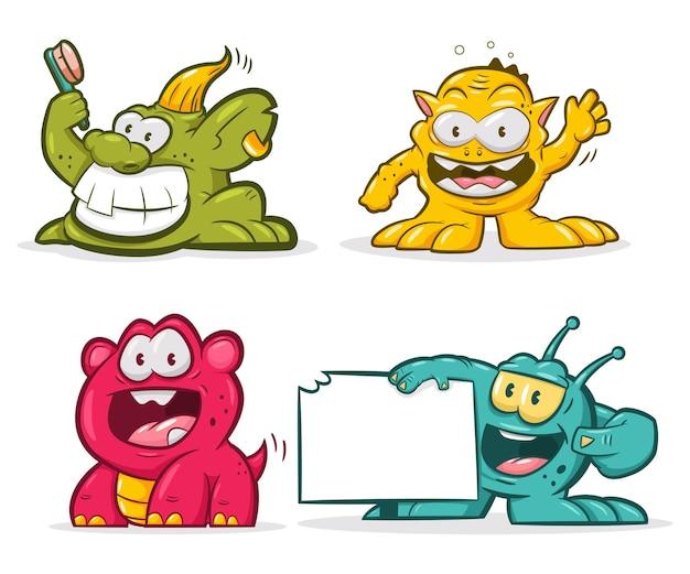 Zestaw ładny trolle. postać z kreskówki śmieszne potwory na białym tle.