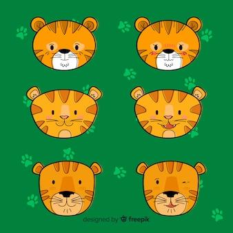 Zestaw ładny tygrys