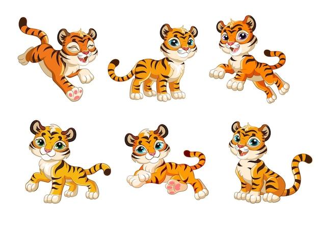 Zestaw ładny tygrysy cub. postaci z kreskówek wektor na białym tle kolorowa ilustracja