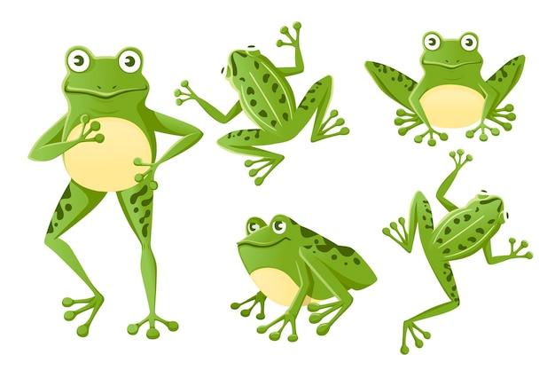 Zestaw ładny uśmiechający się zielona żaba siedzi na ziemi kreskówka projekt płaski wektor ilustracja na białym tle.