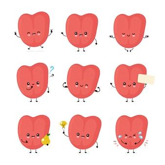 Zestaw ładny uśmiechnięty szczęśliwy ludzki język
