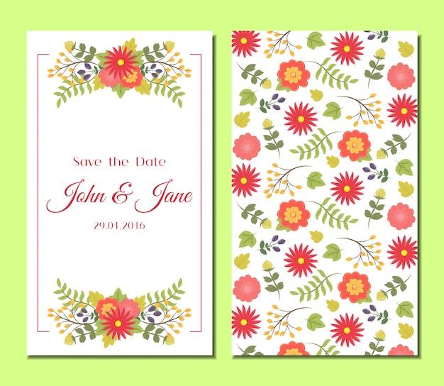 Zestaw ładny vintage kwiatowy karty.