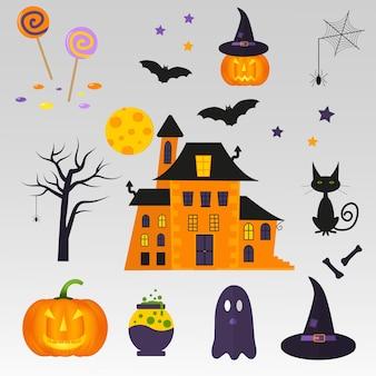 Zestaw ładny wektor halloween ikony dyni, zamek, kot, duch, cukierki, bat, kapelusz, kości, trucizna. elementy, obiekty na kartkę świąteczną, projekt zaproszenia i partii.