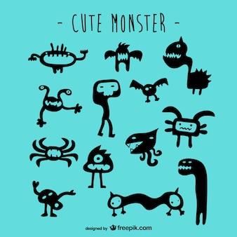 Zestaw ładny wektor potwory