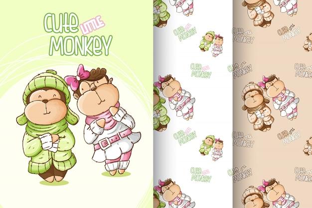 Zestaw ładny wzór małpy dziecka