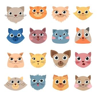 Zestaw ładny zabawny zwierzęta domowe kolorowe głowy szczęśliwe twarze ekspresyjne emocje
