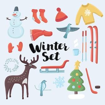 Zestaw ładny zestaw zimowych obiektów bożonarodzeniowych